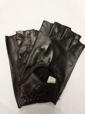 Férfi csonka ujjú autós kesztyű, fekete , nappa bőr 10000 modell